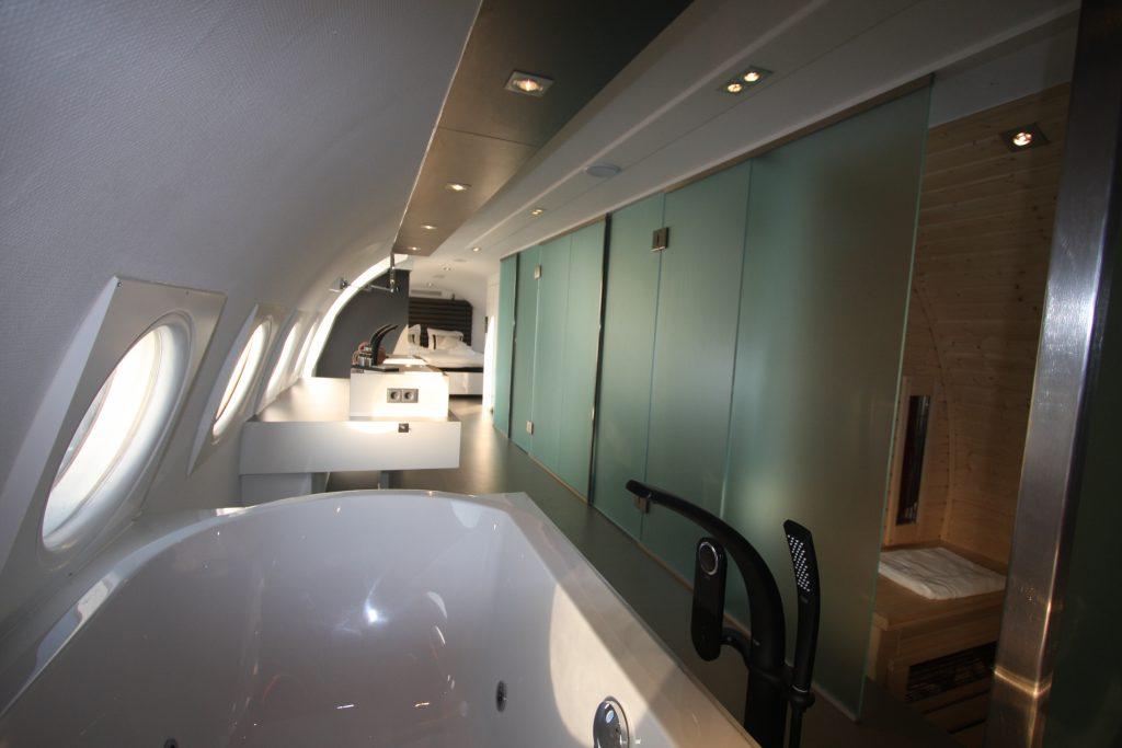 Saune im Flugzeughotel