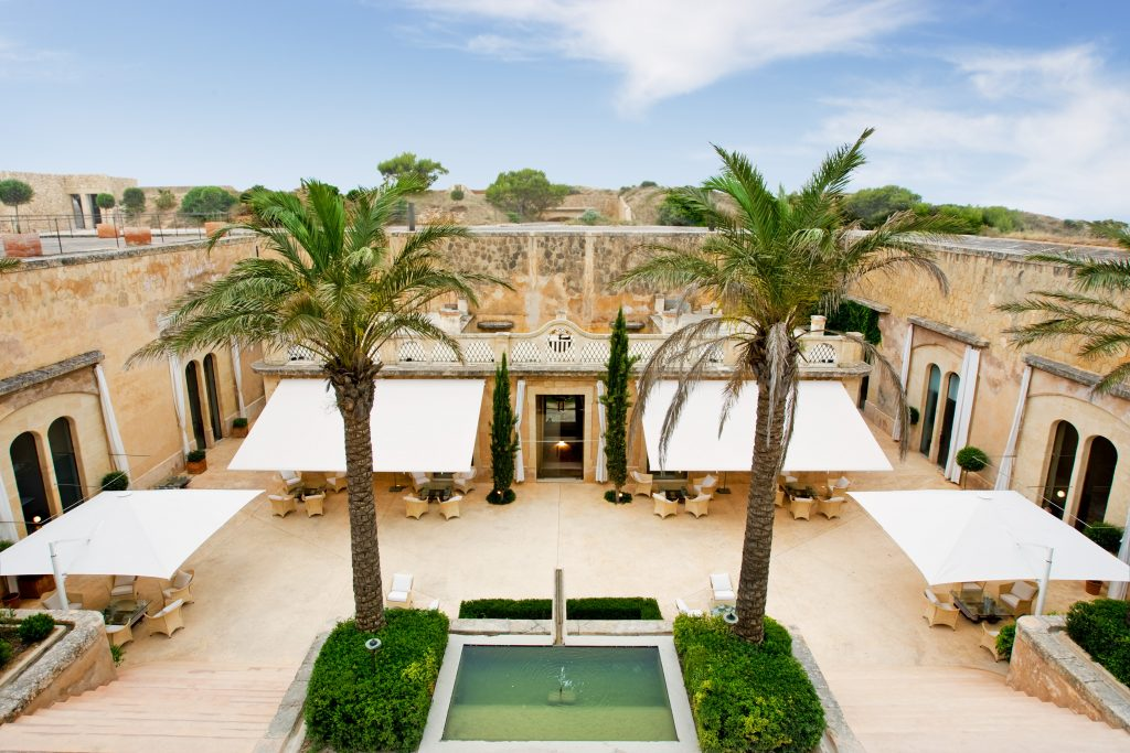 Cap rocat Hotel central patio from above scaled
