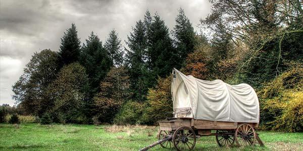 Hütte und Wagen